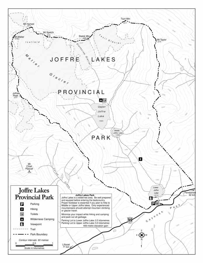 Joffre lakes provincial park trail map